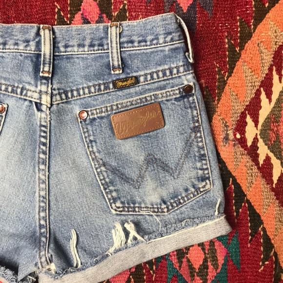 Wrangler Pants - Vintage Wrangler Cut Off High Waist Jean Shorts